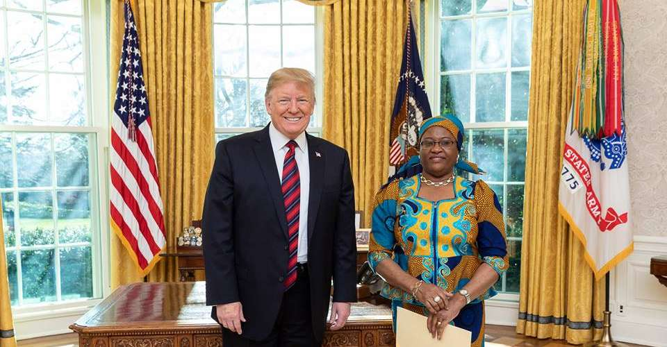 Ambassador Nashandi with President Donald Trump after presenting her letters of credence