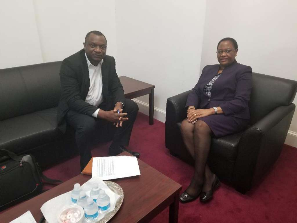 Ambassador Nashandi with PAV Managing Editor Ajong Mbapndah. Namibia is the ideal country for trade and investment she says
