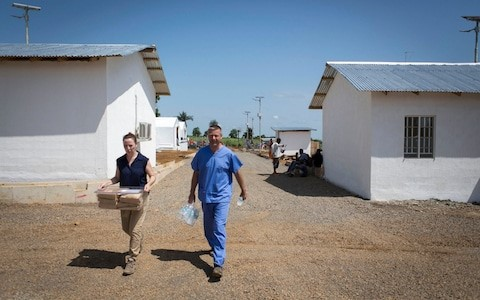 One of the Ebola treatment centres funded by the UK during the 2014-15 outbreak in Kerry Town, Sierra Leone CREDIT: LOUIS LEESON/SAVE THE CHILDREN