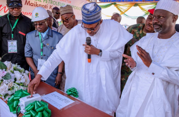 President Buhari Flags Off The Spud-In of Kolmani River II Well Drilling in Bauchi State on 2nd Feb 2019 . Picture credit Vanguard