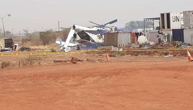 The crashed helicopter seen inside the compound of the UN Interim Security Force for Abyei. Photo courtesy: Kabiru News Network