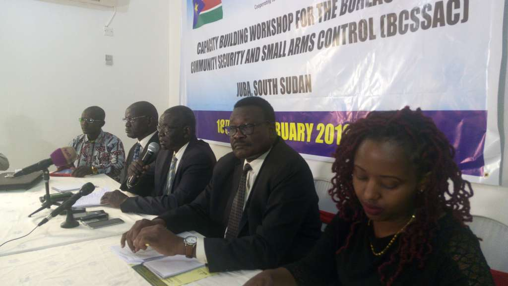Lt Gen. Andrew Kuol Nyuon, head of South Sudan Bureau for Community Security and Small Arms Control, addressing journalists on Wednesday 20, 2019 in Juba