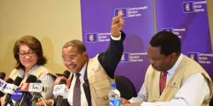 •From left: Ms Katalaina Sapolu, Director, Governance and Peace, Commonwealth Secretariat; Dr Jakaya Kikwete, Chairman, Commonwealth Observer Group; and Mr Martin Kasirye, Head, Electoral Support Section of Commonwealth Secretariat, during a news conference on the presidential and National Assembly elections in Abuja