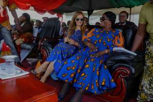 Dr. Rasha Kelej, CEO of Merck Foundation and President, Merck More Than a Mother with The First Lady of Zambia, H.E. ESTHER LUNGU during their visit to a village in Central Province, Zambia to meet and empower infertile women