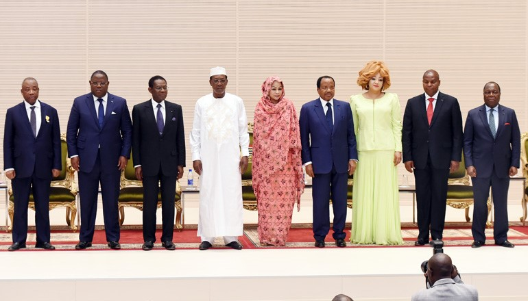 Paul Biya (4th from right) at the CEMAC sub-regional committee in 2017 (photo credits: prc.cm)