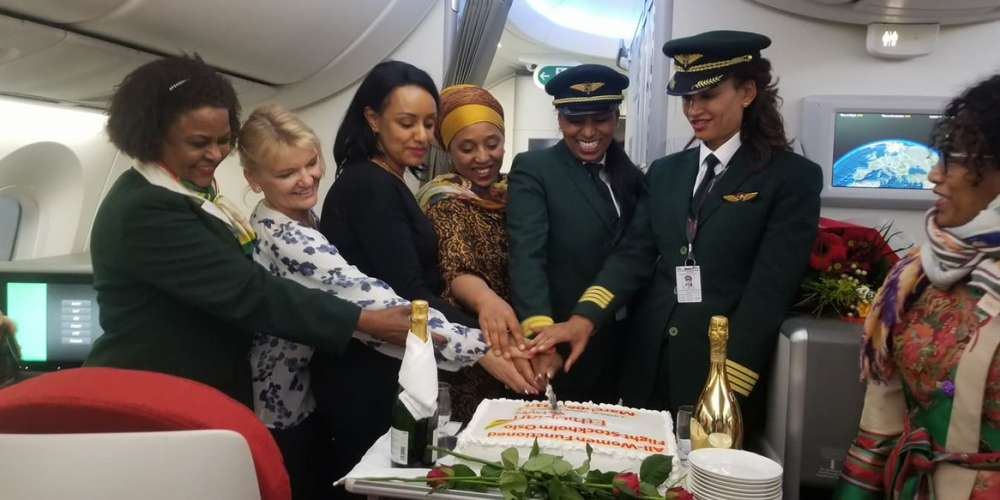 Ethiopian Airlines celebrates International Women's Day with flight staffed entirely by women
