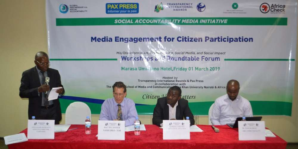 Executive Director of TI-Rwanda, Apollinaire Mupiganyi, opening the workshop on media engagement for citizen participation in Kigali, Friday