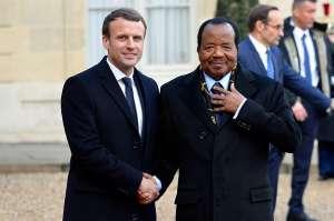 French President, Emmanuel Macron and his Cameroonian counterpart, Paul Biya (photo credits: Cameroonweb)