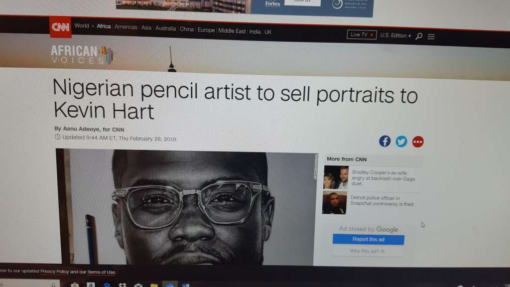 Screenshot of CNN's article on kevin Hart's portrait by Nigerian artist
