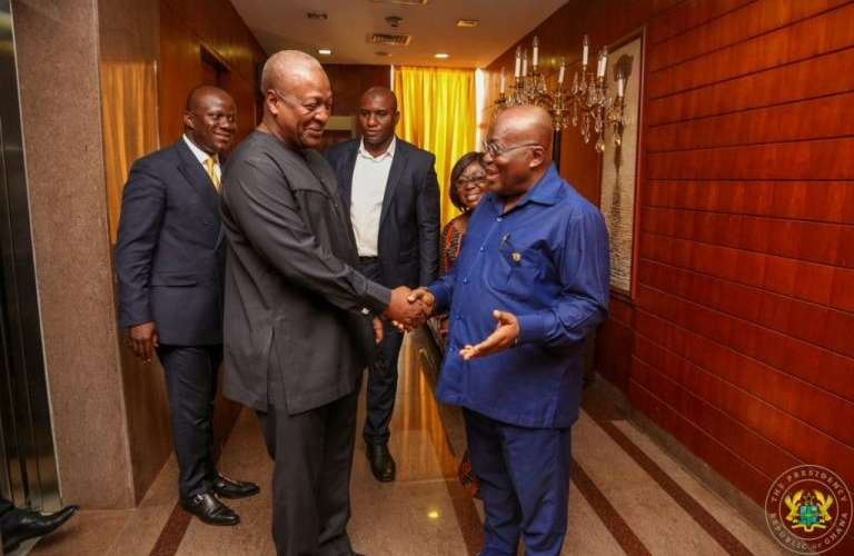 Former President Mahama with current President Akufo Addo