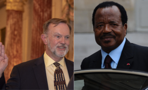 U.S. Assistant Secretary of State for Africa Tibor Nagy and President Paul Biya of Cameroon.Photo Allafrica