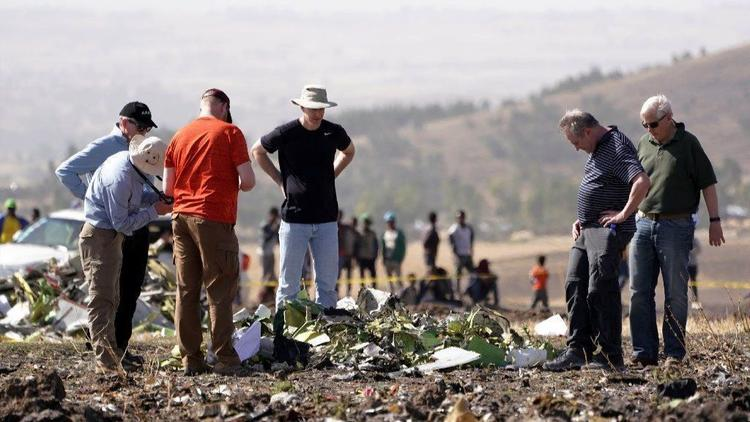 A team from the U.S. National Transportation Safety Board inspects wreckage at the crash site of Ethiopian Airlines ET302 on March 12, 2019, in Bishoftu, Ethiopia. (Jemal Countess/Getty Images)
