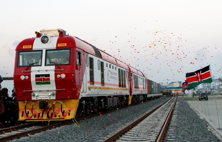 A cargo train is launched to operate on the Standard Gauge Railway (SGR) line constructed by the China Road and Bridge Corporation (CRBC) and financed by the Chinese government in Kenya's coastal city of Mombasa on May 30.2017, The railway was completed 18 months ahead of schedule. STRINGER/REUTERS