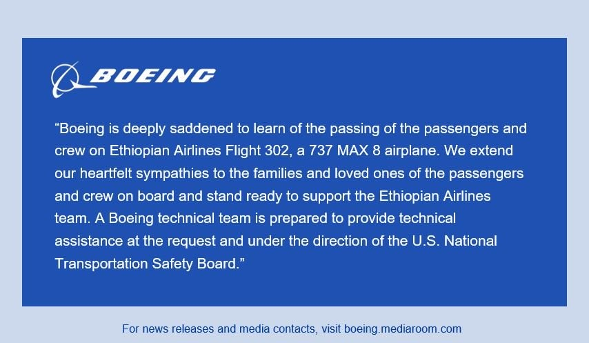 statement from Boeing