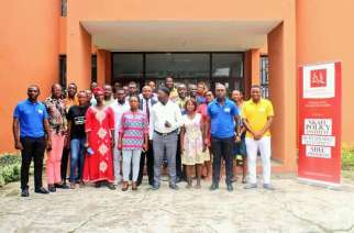 Members of Foretia foundation, emerging leaders littoral and guest speaker pose with journalists in Douala