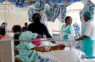 File Picture.Medical personnel attend to cholera patients inside a special ward at the Kenyatta National Hospital in Nairobi, Kenya July 19, 2017.