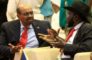 File Picture:Ousted President Omar Al Bashir with South Sudan President  Salva Kiir