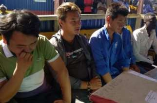 Three of the four Chinese nationals who are in police custody for assaulting a road engineer in Turkana. PHOTO | COURTESY
