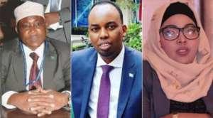 Somalia Deputy Minister of Water and Energy Osman Libah, Senators Ilyas Ali Hassan and Zamzam Dahir. PHOTOS | COURTESY
