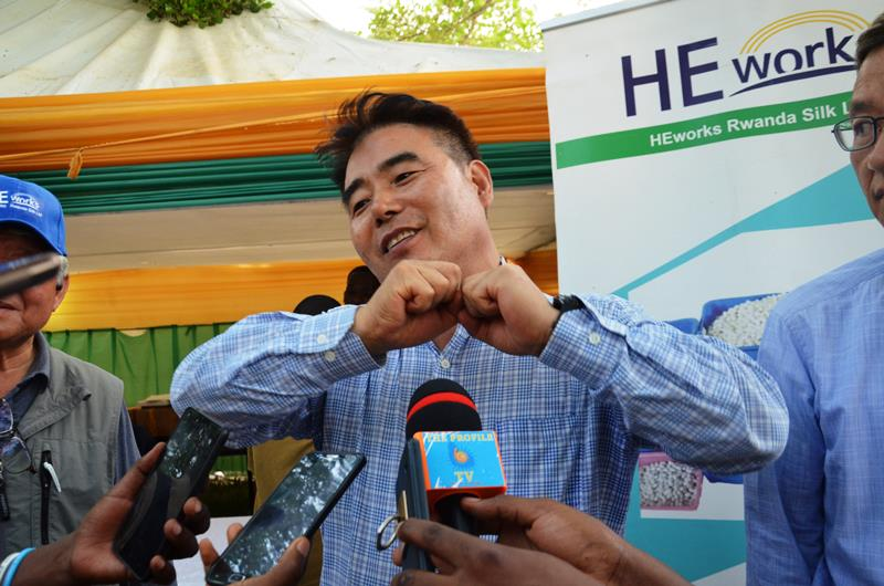 HeeChoon Yang, CEO of the Korean-based silk firm HeWorks Inc., speaks to the media in Kigali last Friday. Photo Mugabo