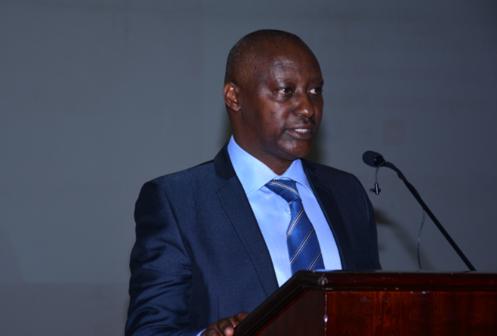 Robert Bapfakurera, the Chairman of Rwanda's Private Sector Federation, raises high banks' interest rates at the Kigali Investors Forum 2019