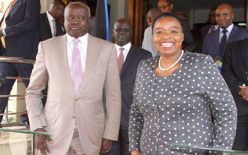 Foreign Affairs CS Monica Juma (right) with her South Sudanese counterpart Nhial Deng Nhial after addressing journalists in Nairobi, yesterday. [Standard]