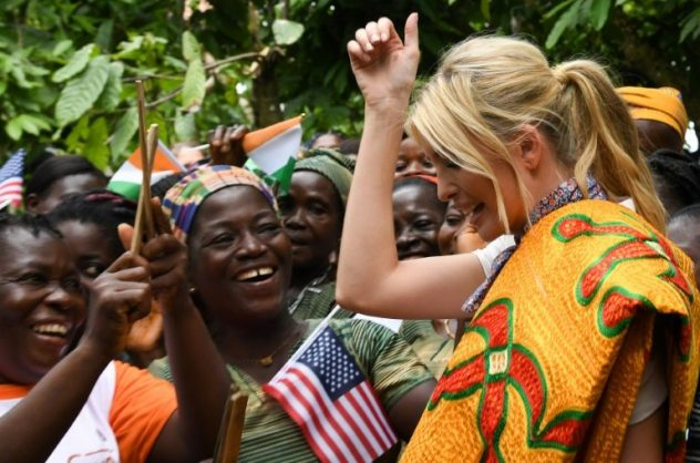 U.S presidential Adviser Ivanka Trump (R) unveiled financial aid for woman cocoa farmers ahead of a recent West African summit on women entrepreneurs in Ivory Coast. AFP ISSOUF SANOGO