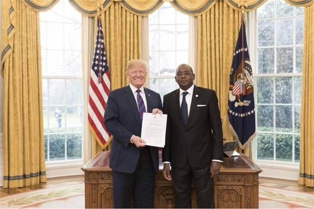 Ambassador Haidara presenting his credentials to President Donald Trump.Relations between Cote d'Ivoire and the US are in good shape.