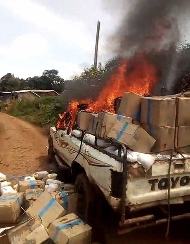 Truck carrying Humanitarian aid set ablaze in the NWR