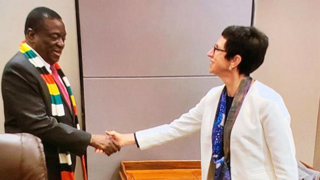 President Mnangagwa with Ursula Mueller