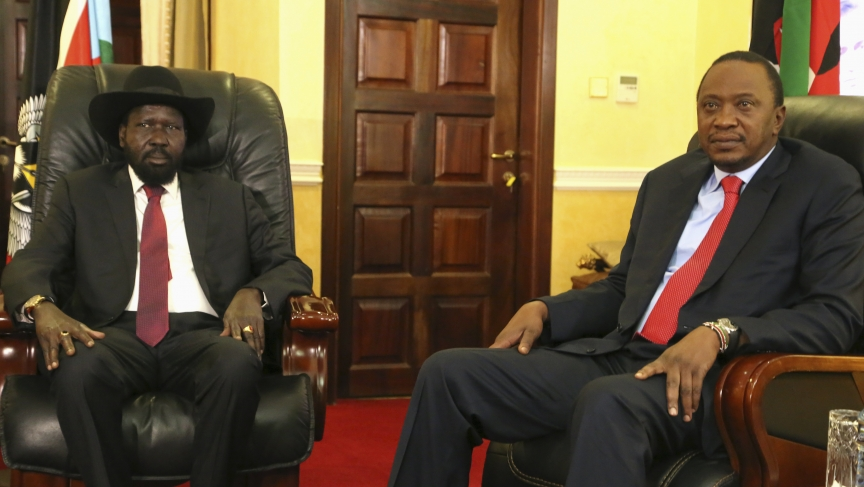 Salva Kiir and Kenya's President Uhuru Kenyatta