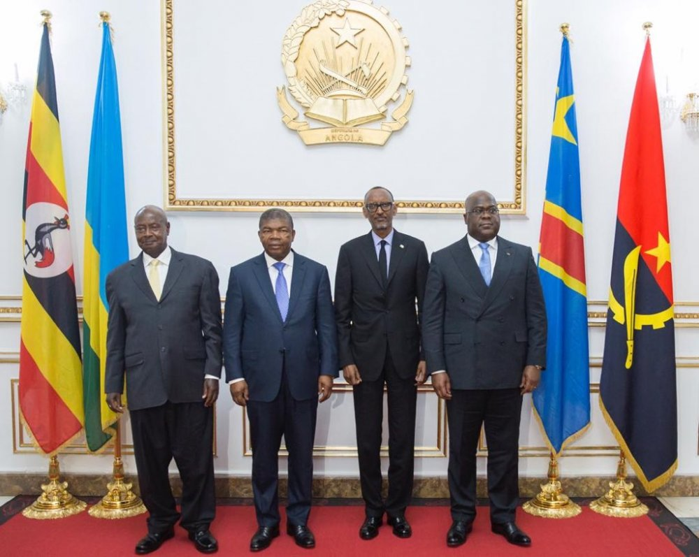 Heads of State in Quadripartite meeting in Luanda, Angola. From left is President Muveni, President João Lourenço, Paul Kagame and Felix Tshisekedi