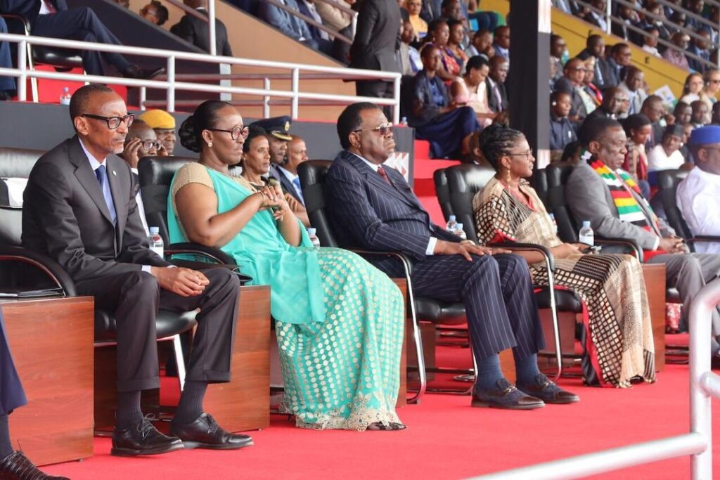 President Hage Geingob and First Lady Kalondo Monica were guests of President Paul Kagame and Madame Jeannette Kagame on the occasion of Rwanda's 25 liberation anniversary