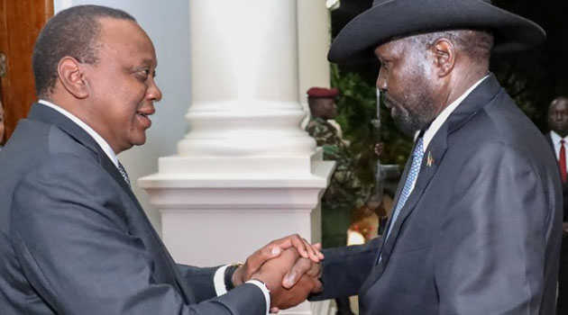 President Kenyatta and Salva Kiir who was in Kenya for a two-day State visit. Photo/PSCU.